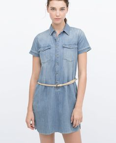 Image 2 of DENIM DRESS WITH BELT from Zara