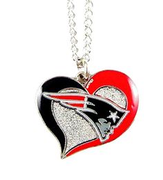 "New England #Patriots Swirl Heart Charm 20"" Necklace #NFL New from $6.0"