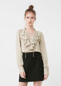 Ruffled blouse - Shirts for Woman | MANGO Romania