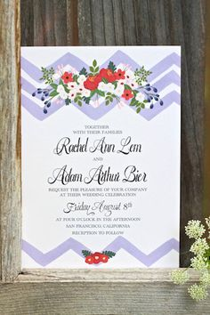 July 4th wedding invitations from Behold Designz | see more on: http://burnettsboards.com/2014/07/patriotic-bouquet-matching-wedding-invitations/