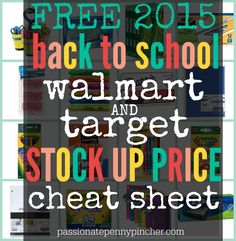 Free back to school stock up price cheat sheet