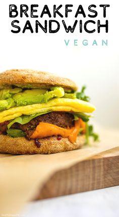 Kathy's Vegan Breakfast Sandwich Vegetarian Meal Prep, Vegetarian Recipes, Healthy Recipes, Vegan Breakfast Sandwich Recipe, Brunch Recipes, Breakfast Recipes, Recipe Paper, Italian Appetizers, Homemade Breakfast