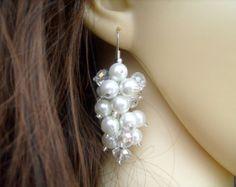 Pearl Wedding Earrings Gold Pearl & Crystal Earrings by KIMMSMITH
