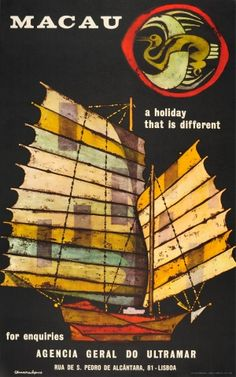 Macau travel poster for the Portuguese market, featuring the tagline 'a holiday that is different' (c.
