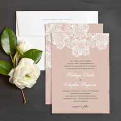 Blush pink lace wedding invitation