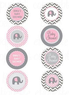 Elephant Pink and Gray Chevron Baby Shower - Print Your Own
