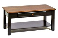 Amish Two Tone Coffee Table with Drawer Oak Hardwood