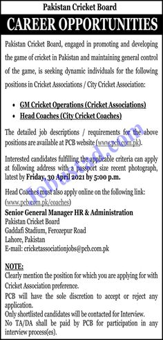 PCB Jobs 2021 has been announced through the advertisement and applications from the suitable persons are invited on the prescribed application form. In these Latest Pakistan Cricket Board Jobs 2021 the eligible Male/Female candidates from across the country can apply through the procedure defined by the organization and can get these Jobs in Pakistan 2021 after the complete recruitment process.