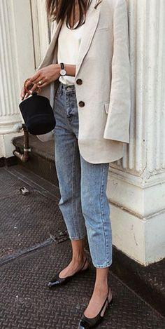 Cleo Tee Blazer + White T-Shirt + Skinny Jeans Outfit + Daniel Wellington Watch Blazer Jeans, Look Blazer, Harem Jeans, Denim Leggings, Women's Jeans, Casual Blazer, White Blazer Outfits, Check Blazer, Fall Jeans