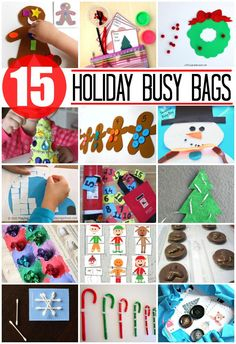 15 super awesome holiday busy bags for kids. Q-tip snowflakes, elf puzzles, gingerbread shape matching and more.