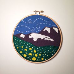 """SALE 35% OFF - Now $26 """"You belong among the wildflowers..."""" #embroidery #mountains #wildflowers"""