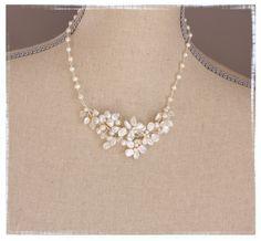 Keshi Pearl Flower Cluster Necklace by VirginiaGeigerJewels, $82.00