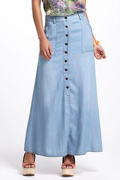 Chambray Maxi Skirt #anthropologie