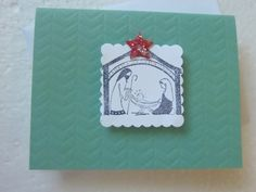 Handmade Embossed and Stamped Green Christmas Card by ChicEventsDecor on Etsy