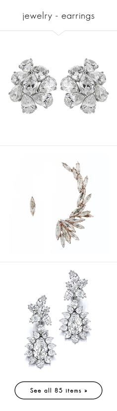 """""""jewelry - earrings"""" by whitesandprincess ❤ liked on Polyvore featuring jewelry, earrings, multiple, diamond earring jewelry, clip on earrings, platinum earrings, platinum jewelry, platinum jewellery, accessories and ear cuff"""