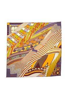 Hermes Women's Carre Scarf, Lavender/Rust