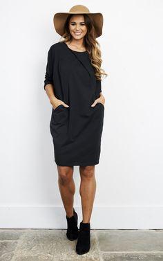 Black Cotton Two Pocket Dress - SilkFred