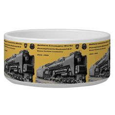 """Baldwin Locomotive Works S-2 PRR Steam Turbine Pet Water Bowl; $26.95 - #stanrail -- Style Large Pet Bowl : Pamper your pet with a custom large bowl from Zazzle! Made of 100% white ceramic, this large bowl is perfect for showing off your favorite designs, text, and photos in vivid detail. Dishwasher and microwave approved, this large bowl is as safe as it is easy to keep clean! 40oz. 3"""" height, 7"""" diameter.   @stanrails_store"""
