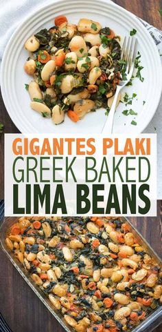 Lima Bean Recipe (Gigantes Plaki) This healthy lima bean recipe with added veggies is a one stop meal. Gigantes Plaki is loaded with protein, perfect for all ages and so flavorful! via healthy lima bean recipe with add Greek Recipes, Whole Food Recipes, Diet Recipes, Healthy Recipes, Low Calorie Vegetarian Recipes, Vegan Meals, Vegan Bean Recipes, Lima Bean Recipes, Baked Lima Bean Recipe