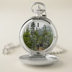 Forest and Mountain Scene Pocket Watch -nature diy customize sprecial design