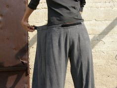 Unique grey linen Womens pantsOrigami trousers/ 4 way by SHIHAR, $125.00