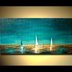 "Original Abstract Painting Heavy Textured Paint on Canvas Boats in Ocean Sea by OSNAT 48""x24"""