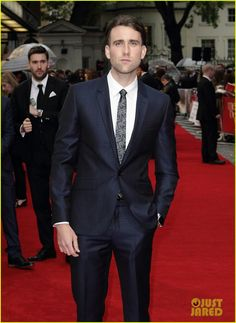 Dapper: Harry Potter's Matthew Lewis walked the red carpet, looking dapper and dressed for the occasion in a metallic blue suit Metallic Blue Suit, Matthew Lewis, Yellow Gown, Looking Dapper, Emilia Clarke, Celebs, Celebrities, Red Carpet Fashion, Celebrity Style