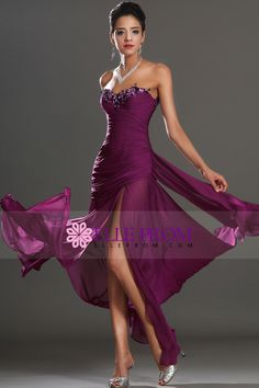 Prom Dresses Ruffled Bodice Sheath/Column Floor Length With Beads&Applique