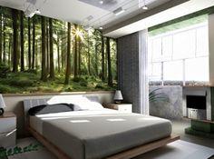 schlafzimmer wald natur fototapete