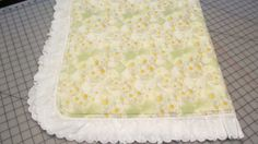 Green Daisy Print Cotton and Chenille Baby Blanket with White Ruffle Border by MagnoliasDownSouth, $49.50