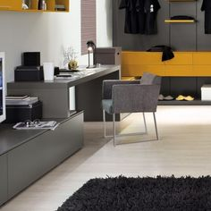 modernes home office grau gelb kombination