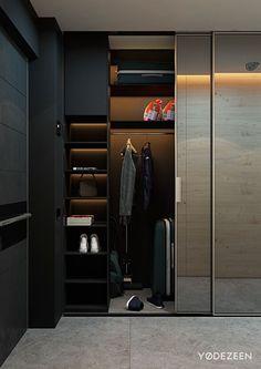 Entryway coat closet (dump all) - 5 Small Studio Apartments With Beautiful Design Wardrobe Doors, Bedroom Wardrobe, Wardrobe Closet, Walk In Closet, Small Wardrobe, Wardrobe Storage, Modern Wardrobe, Small Dressing Rooms, Small Coat Closet