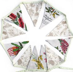 BUNTING Australian Wildflowers Linen Fabric Flags . Handmade | Etsy Pretty Flowers, Wild Flowers, Australian Wildflowers, Caravan Decor, Tiny Gifts, Bunting Flags, Banner, Handmade Decorations, Birthday Presents