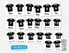 Kiwi Rugby Jerseys counting Counting in te reo Maori Early Learning Activities, Learning Cards, Preschool Activities, Teaching Tools, Teacher Resources, Waitangi Day, Preschool Printables, Children's Picture Books, Early Childhood Education