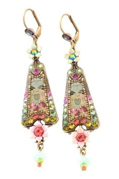 Michal Negrin Splendid Dangle Triangle Earrings Adorned with Japanese Dolls Kiss Cameo, Multicolor Swarovski Crystals Enhanced with Hand Painted Flowers; Victorian Elegance: Michal Negrin: Jewelry