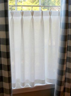 Gorgeous Linen Café Curtain with sweet Triple Pinch Pleated top. 100 per cent Linen washes beautifully and has a fine vintage look. Not fussy but
