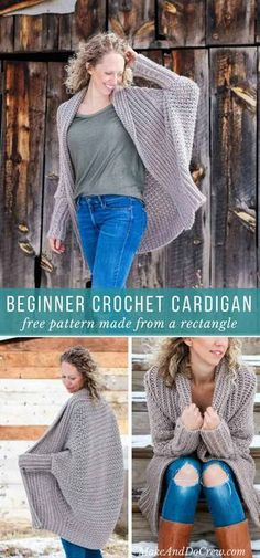 This free crochet cardigan pattern uses two simple rectangles to create a figure-flattering, on-trend, super wearable sweater. Very beginner friendly tutorial featuring Lion Brand Heartland yarn. via Source by MakeAndDoCrew cardigan Poncho Crochet, Easy Crochet, Free Crochet, Crochet Sweaters, Beginner Crochet, Crochet Shrug Pattern, Diy Crochet Jacket, Crochet Cardigan Pattern Free Women, Crochet Vests