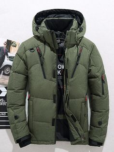 f4f8e0dfe8bd2 Hooded Thick Winter Men's Down Jacket Stand Collar Coats