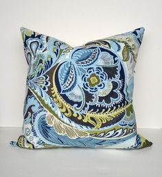 """Decorative Pillow Paisley Floral Cover Blues, Greens, Chocolate-Brown, White, 22"""" x 22"""""""