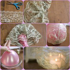 DIY Simple Lace Candle Holder