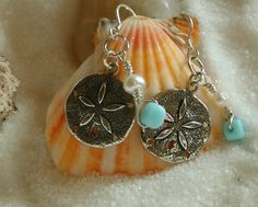 Sterling sand dollar fresh water pearl and by PatriciaBlessDesigns, $18.00