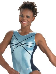 The sky's the limit in this gymnastics training leotard with columbia blue mystique and navy mystique. Features navy mystique zig zag trim highlighted by silver hologram spanglez, secured v shaped neckline, and matching scrunchie. Gymnastics Leos, Gymnastics Training, Gymnastics Outfits, Gymnastics Leotards, Dance Outfits, Cool Outfits, Gk Leotards, Columbia Blue, Athletic Tank Tops