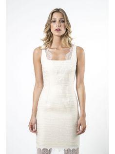 Vestido blanco corto de tweed verano www.felipevarela.com