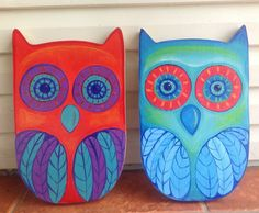 Quirky, sweet blue and turquoise wooden owl art