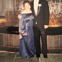 """Prom dress Midnight blue, off the shoulder, in excellent condition. Tailored to my height of 4'11"""". Can fit sizes 12-16. Flower on side with streaks hanging down was pinned and can be taken off Dresses Prom"""