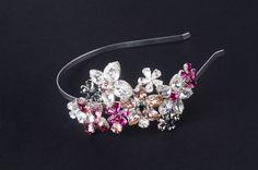 Cordeluţă Joséphine cu flori Fascinator, Headpiece, Headbands, Swarovski, Crown, Boutique, Jewelry, Fashion, Moda