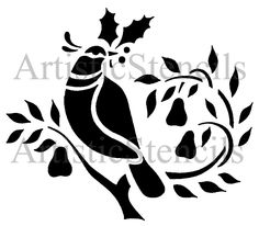 glass etching stencil of christmas dove in category birds christmas fruit - Christmas In Black And White