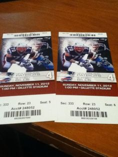 Patriots tickets from last year