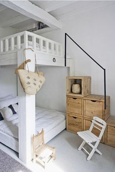 love these bunk beds. file away if girls ever have to share a room, cause this is darling.