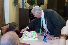 Manchester Mayor Ted Gatsas celebrates West Side matriarch Violetta Levesque's 104th birthday at Mt. Carmel Rehabilitation and Nursing Home on Jan. 10, 2017. Gatsas read from a resolution honoring the milestone event. It was the fifth resolution he presented to Levesque. #Cat holicCharitiesNH #birthday #centenarians #Healthyliving